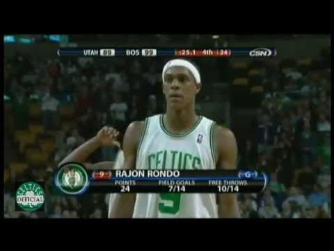 Rajon Rondo 25 points,9 rebounds,8 assists vs Utah Jazz 2008/2009 – Highlights
